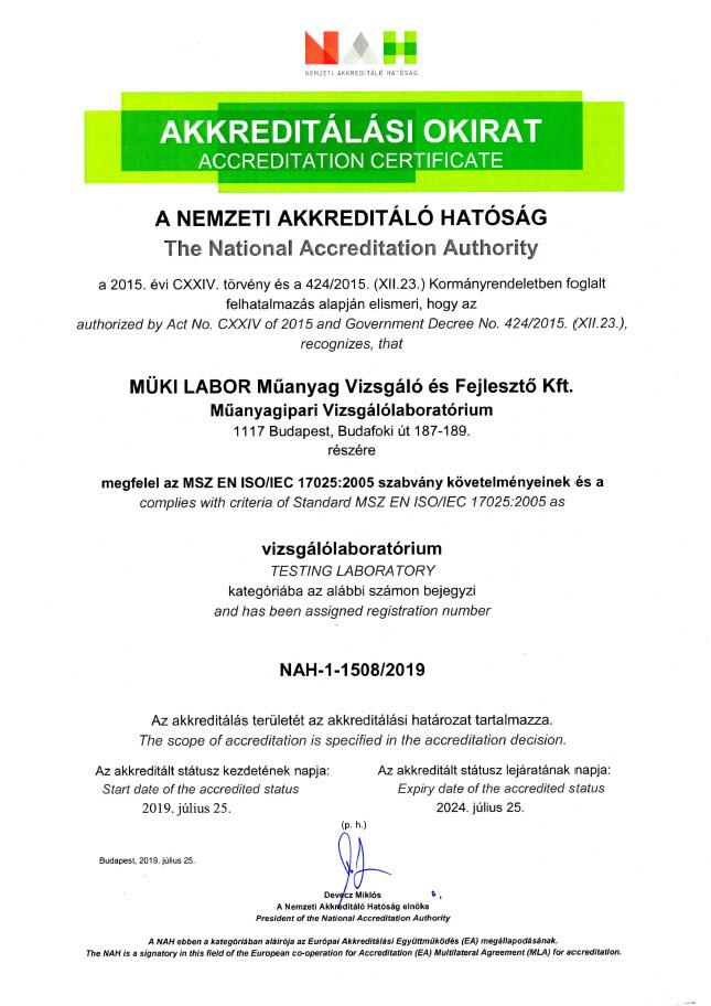 Akkreditation certificate